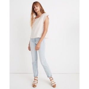 Madewell Side tied ruffle top in stripes